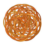 abstract round glossy torus shape in mixed orange on white