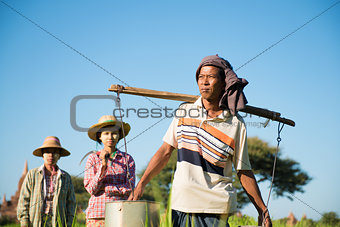 Group of Traditional Asian farmers