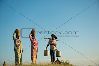 Group of Asian traditional farmers