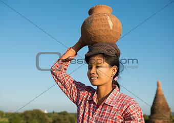 Portrait of Asian traditional female farmer