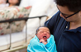 Asian newborn baby and daddy