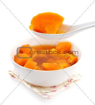 Bowl of sweet potato soup.