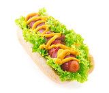 Bacon sausage hotdog