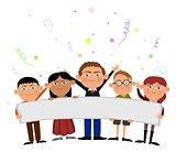 Kids holding banner