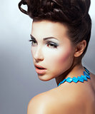 Complexion. Profile of Fascinating Delightful Brunette with Natural Makeup. Refinement