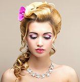 Beauty Lady. Dreaming Woman with Jewelry - Platinum Necklace and Earrings. Tenderness