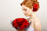 Mildness. Profile of Calm Woman with Red Bouquet of Flowers. Tranquility &amp; Gentleness