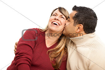 Attractive Mixed Race Couple Kissing on White
