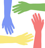colored hands together