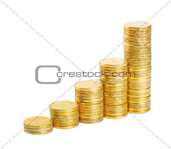 business chart is made from coins