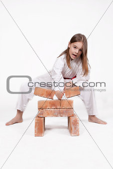 Karate girl breaks bricks 2