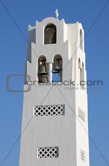 Church bell tower in Santorini