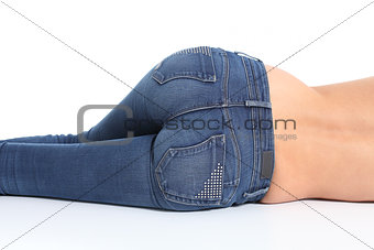 Back view of woman bottom with blue jeans