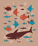 pattern with funny fishes
