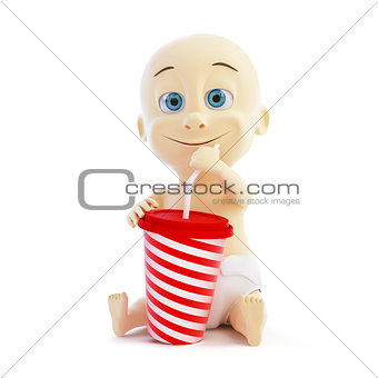 baby drinking soda on a white background
