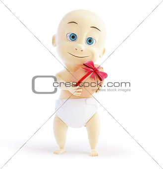 baby gift egg 3d Illustrations on a white background