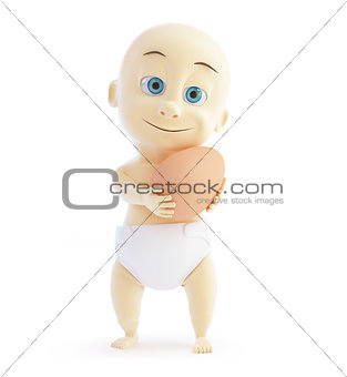 3d baby egg on a white background