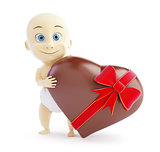 baby gift chocolate heart on a white background