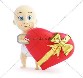 baby gift heart on a white background