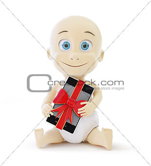 baby smart phone gift 3d Illustrations on a white background