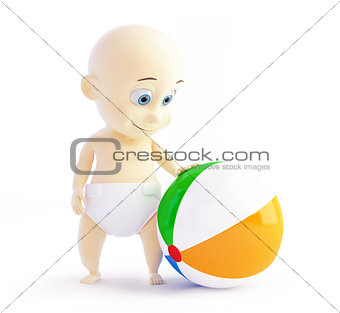baby playing with beach Ball on a white background