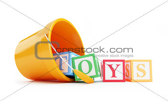 baby toy bucket on a white background