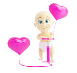 child pump inflates balloons heart on a white background