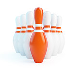 red skittles bowling on a white background