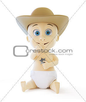 smiling child in a cap sheriff on a white background