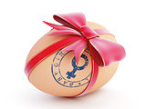 baby girl egg gift with bow on a white background