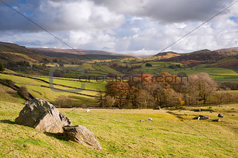 View of Wharfe Dale from Norber Erratics in Yorkshire Dales Nati