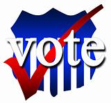 A symbol for voting in red white and blue