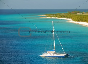 Catamaran near exotic island