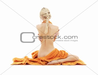 beautiful lady with orange towels #2