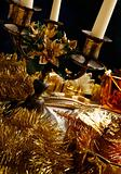 Christmas decoration with gifts and candlestick