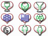 Heart shaped web icons