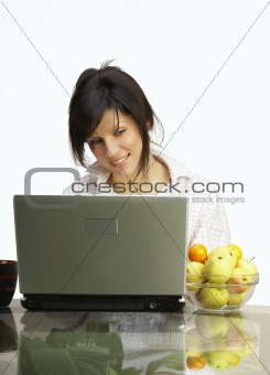 beautiful woman with laptop in mens shirt over white