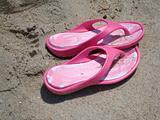 Pink Flip Flops On Beach