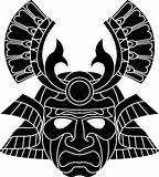 Monochrome samurai mask