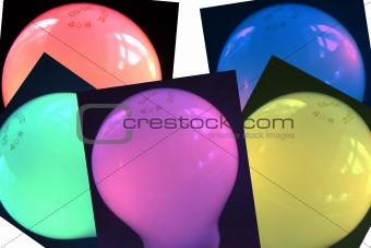coloured bulb cards