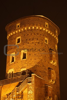 Sandomierz Tower at night