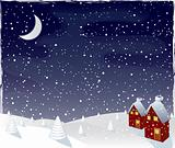 Winter magic night, vector