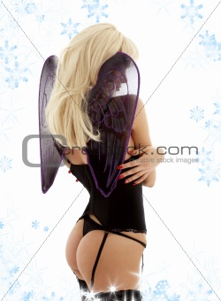 black lingerie angel with snowflakes