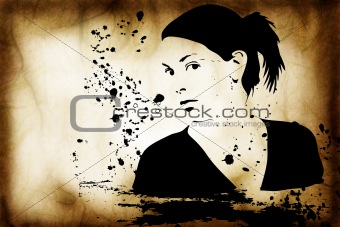 hand drawn silhouette of a woman