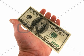 One hundred dollar bills in a hand