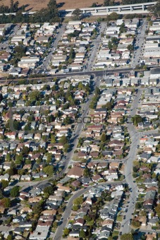 Aerial view of residential urban sprawl