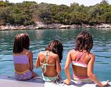 little girls on the beach, summertime in Greece