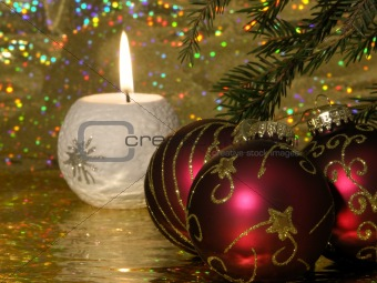 White candle with christmas decorations