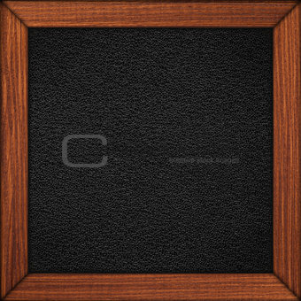 black leather background in wooden brown frame