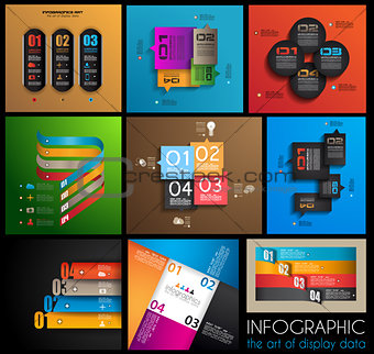 9 mInfographic design templates - collection
